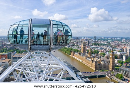 London, England - June 30, 2008:  The view of the city center from the 'British Airways London Eye'