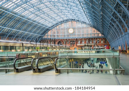 LONDON,ENGLAND Mar 26: St Pancras Station on March 26th, 2014 in London, England.St Pancras Station is the main rail terminal for  Eurostar train departures from London to the European mainland.  - stock photo