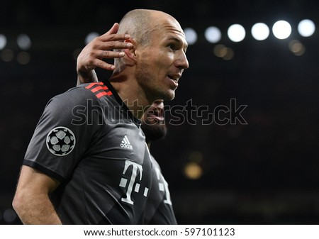 LONDON, ENGLAND - MARCH 7, 2017: Arjen Robben celebrate after a goal scored during the UEFA Champions League Round of 16 game between Arsenal FC and Bayern Munich at Emirates Stadium.