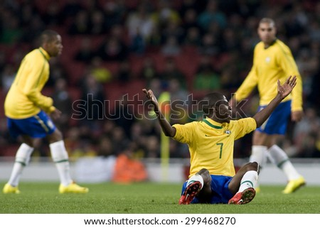LONDON, ENGLAND. March 02 2010: Brazil's Ramirez appeals for a free kick during the international football friendly between Brazil and the Republic of Ireland played at the Emirates Stadium. - stock photo