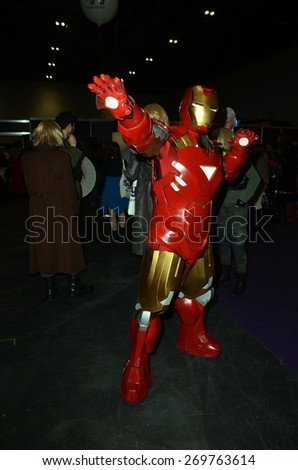 London/England - March 15 2015: Cosplayers in costume at the London Super Comic Convention in the Excel Centre,