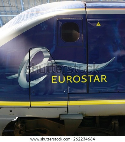 LONDON, ENGLAND -11 MARCH 2015- Editorial: The Eurostar high-speed bullet train, which connects Paris Gare du Nord to London St. Pancras station, celebrated its 20th anniversary in November 2014.