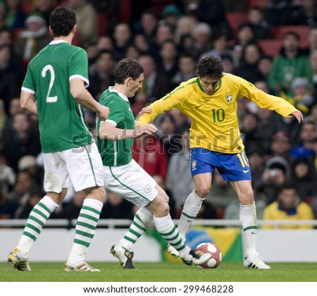 LONDON, ENGLAND. March 02 2010: Ireland's keith Andrews tackles Brazil's Kaka during the international football friendly between Brazil and the Republic of Ireland played at the Emirates Stadium.
