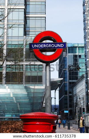 LONDON, ENGLAND - MARCH 2017 : Traditional station sign for the London Underground transportation systems. This sign is from Canary Wharf, the business district in London.