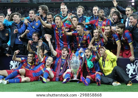 LONDON, ENGLAND. May 28 2011: Barcelona with the trophy for winning the 2011UEFA Champions League final between Manchester United and FC Barcelona, at Wembley Stadium - stock photo