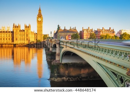 LONDON, ENGLAND - May 14, 2016: Big Ben and the Palace of Westminster in London, UK. The Palace of Westminster commonly known as the Houses of Parliament.