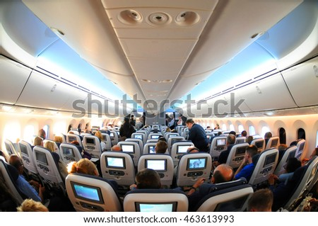LONDON, ENGLAND, MAY 26: British Airways Boeing 787-8 Dreamliner economy class cabin and inflight entertainment system (IFE) at London's Heathrow, May 26, 2016