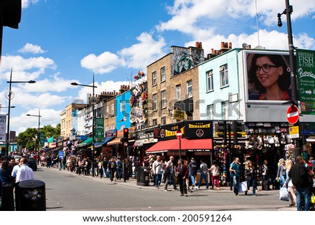 LONDON, ENGLAND - MAY 25, 2014: Camden Town is a famous alternative culture shops on  London. Is London's most popular open-air market area with stalls, shops, pubs and restaurants, in may 25, 2014 - stock photo