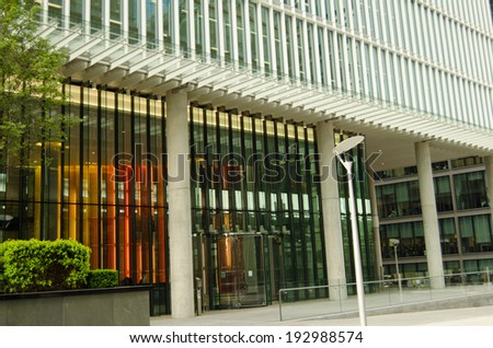 LONDON, ENGLAND - MAY 15, 2014: Entrance to the London headquarters of the pharmaceutical manufacturer AstraZeneca.  The drugs company is involved in a takeover battle by the American company Pfizer. - stock photo