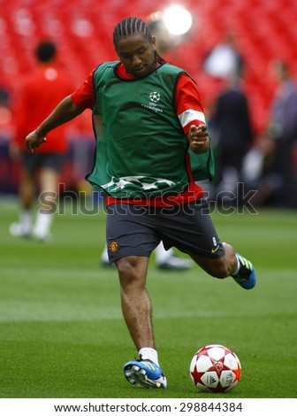LONDON, ENGLAND. May 27 2011: Manchester's midfielder Anderson during the official training session for the 2011UEFA Champions League final between Manchester United and FC Barcelona - stock photo