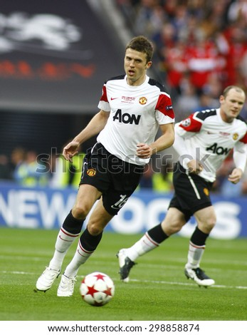 LONDON, ENGLAND. May 28 2011: Manchester's midfielder Michael Carrick during the 2011UEFA Champions League final between Manchester United and FC Barcelona, at Wembley Stadium - stock photo
