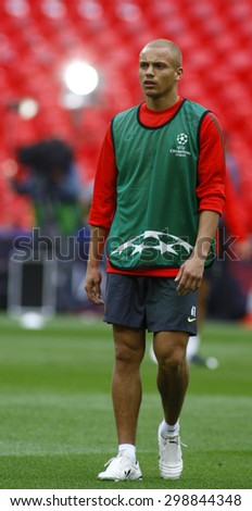 LONDON, ENGLAND. May 27 2011: Manchester's midfielder Wes Brown during the official training session for the 2011UEFA Champions League final between Manchester United and FC Barcelona - stock photo