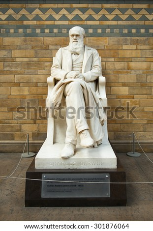LONDON, ENGLAND - MAY 30: Statue of Charles Darwin in the Natural History Museum on May 30, 2015 in London - stock photo