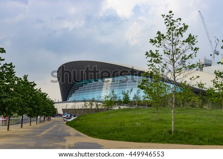 London, England - May 27, 2016: View of the London Aquatics Centre, a former Olympics venue with pools for diving and swimming, in the area of Stratford in London, England.