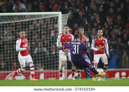 LONDON, ENGLAND - NOV 04 2014: Youri Tielmans of Anderlecht takes a free kick during the UEFA Champions League match between Arsenal from England and Anderlecht from Belgium  - stock photo