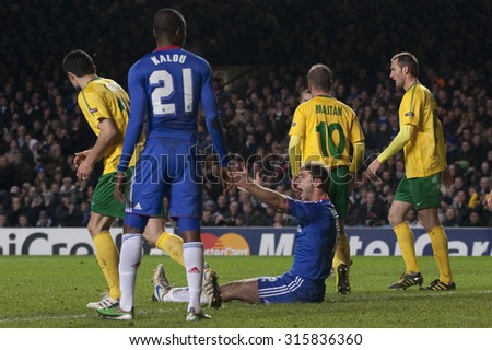 LONDON ENGLAND 23 NOVEMBER 2010. Chelsea's defender Branislav Ivanovic appeals for a penalty during the UEFA Champions League match between Chelsea FC and MSK Zilina, played at Stamford Bridge. - stock photo