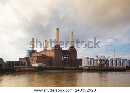 London,England November 11,2011:Famous Battersea Power Station.The power station will be transformed in a shopping center.