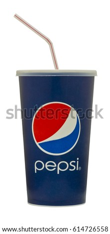 London, England - October 22, 2011: Cup of Pepsi Cola with Straw, The Pepsi Brand is owned by PepsiCo Inc.