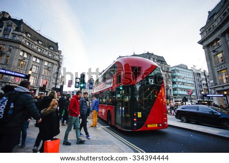LONDON, ENGLAND - OCTOBER 30, 2015: Oxford street on sale season on Sunday's evening. This street is a major shopping street of London.