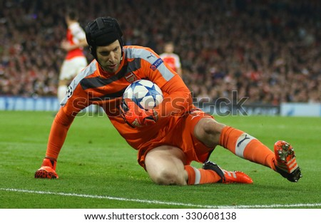 LONDON, ENGLAND - OCTOBER 20 2015: The UEFA Champions League match between Arsenal and Bayern Munich at The Emirates Stadium on October 20, 2015 in London, United Kingdom. - stock photo