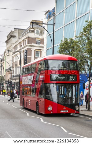 London, England - October 15: View of a London double decker bus in London, England on October 15, 2014. - stock photo
