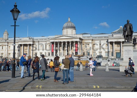 LONDON, ENGLAND - OCTOBER 7, 2014:  View of historic Trafalgar Square and The National Gallery in London