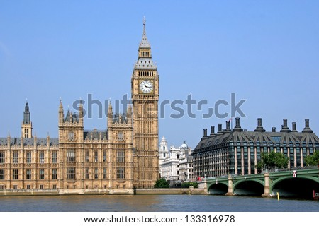 London, England, Parliament Building, Big Ben - stock photo