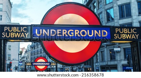 LONDON, ENGLAND - SEP 30: Underground tube station in London on September 30, 2012. The London Underground is the oldest underground railway in the world covering 402 km of tracks