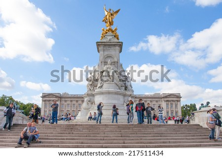 London, England - September 9, 2010: Buckingham Palace in London, England. Buckingham Palace is a British icon and the official residence of the British monarch. - stock photo