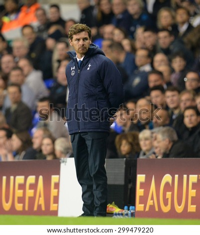 LONDON, ENGLAND - September 19 2013: Tottenhams manager Andre Villa Boas during the UEFA Europa League match between Tottenham Hotspur and Tromso played at The White Hart Lane Stadium.