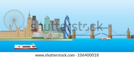 London England Skyline Panorama with Tower Bridge and Westminster Palace Illustration Raster Vector - stock photo