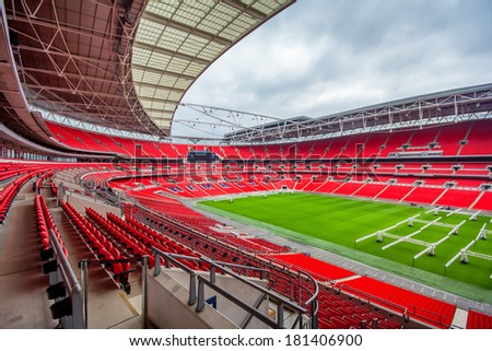 LONDON, ENGLAND - 7th FEB 2012 : Internal shot of the new Wembley stadium. Opened in 2007, Wembley Stadium has 90,000 seats making it the second largest stadium in Europe. - stock photo