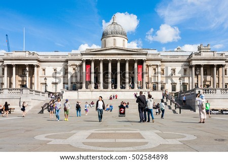 London, England, UK - August 3, 2014: View of the National Gallery in Trafalgar Square.
