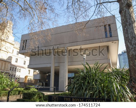 LONDON, ENGLAND, UK - MARCH 05, 2009: The Royal College Of Physicians designed in 1964 by Sir Denys Lasdun is a masterpiece of new brutalist architecture
