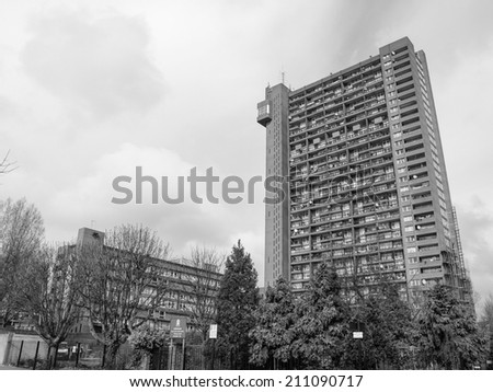 LONDON, ENGLAND, UK - MARCH 05, 2009: The Trellick Tower in North Kensington designed by Erno Goldfinger in 1964 is a Grade II listed masterpiece of new brutalist architecture