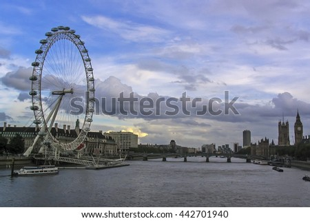 London, England, United Kingdom, Europe - July 01, 2004: London Eye and Thames river