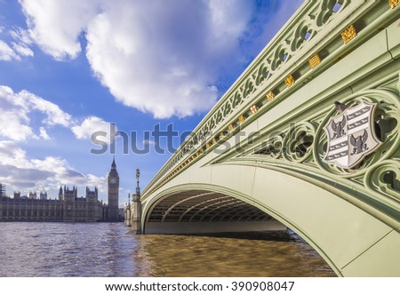 London, England - Westminster Bridge and Big Ben on a sunny day