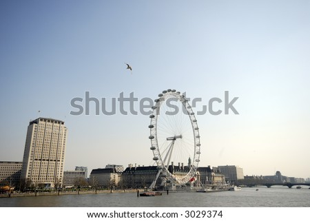 London Eye a sunny afternoon by the Thames in England #6