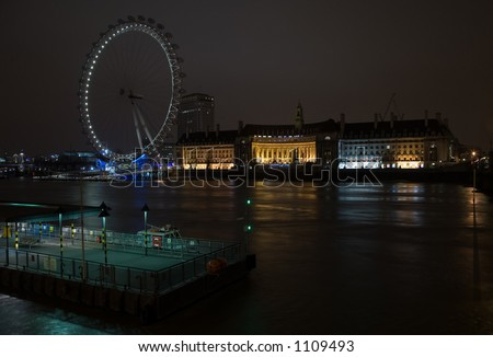 London eye at night - stock photo