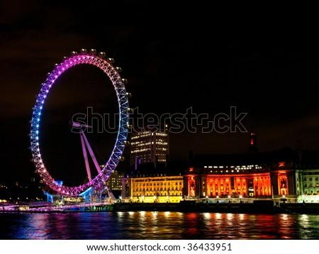 London Eye In Night - stock photo