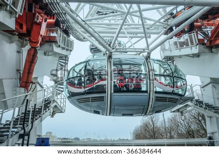 London eye, London, UK - 28 Dec 2015: the close up picture of London eye's capsule which shows its construction