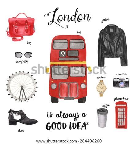 London fashion illustration. Watercolor drawing. - stock photo