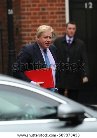 LONDON - FEB 21, 2017: Boris Johnson MP attends a cabinet meeting at 10 Downing street on 21, Feb, 2017 in London