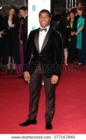 LONDON - FEB 14, 2016: John Boyega attends the EE Bafta British Academy Film Awards at the Royal Opera House on Feb 14, 2016 in London