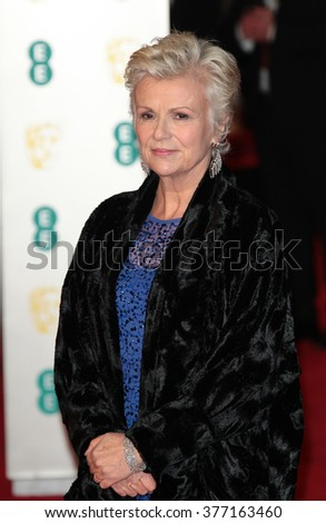 LONDON - FEB 14, 2016: Julie Walters attends the EE Bafta British Academy Film Awards at the Royal Opera House on Feb 14, 2016 in London - stock photo
