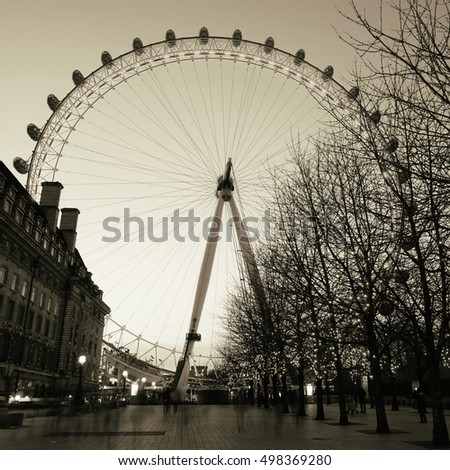 LONDON - FEB 16: Night view of London Eye, a famous tourist attraction at a height of 135 metres (443 ft) and the biggest Ferris wheel in Europe, on Feb 16, 2016, London, UK.