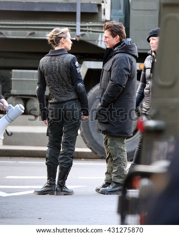 LONDON - FEB 2, 2013: Tom Cruise and Emily Blunt filming scenes of All You Need Is Kill on Feb 2, 2013 in London - stock photo