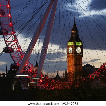 LONDON - FEB 16 : View of The London Eye on Feb 16, 2014 in London, England. A famous tourist attraction at a height of 135 metres (443 ft) and the biggest Ferris wheel in Europe.   - stock photo