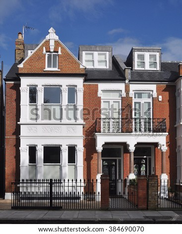 LONDON - FEBRUARY 19, 2016. A fine 19th century Victorian period town house on Stevenage Road in the Fulham district of west London, UK. - stock photo