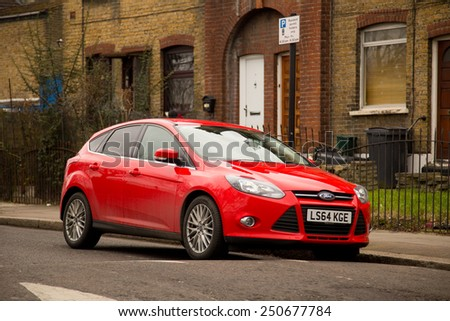 LONDON - FEBRUARY 7TH: A Ford on February the 7th, 2015, in London, England, UK. The Ford is a popular car manufacturer. - stock photo